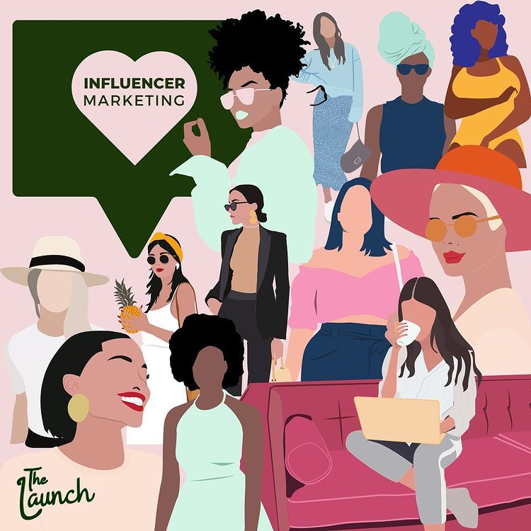 """a stylized illustration of various women with the title """"influencer marketing"""""""